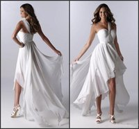 Cheap New Beach style A-Line one shoulder ruffle high low fashion Wedding Dress simple Bridal Gown bridesmaid dress wedding Party Dress Prom Dress