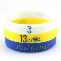 athletics resins - No Basketball Star Paul George Signature Silicone Athletic Wristband Classic Accessory White Rubber Bracelet Glow in the dark