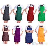 Wholesale Fashion Plain Apron with Front Pocket for Chefs Butchers Kitchen Cooking Craft UK Baking Home Cleaning Tool Accessories