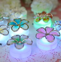 Wholesale 12pcs Flower LED Seven Color Changing Glow Sticky Lamp Christms Party Night Club Pub Decoration L044
