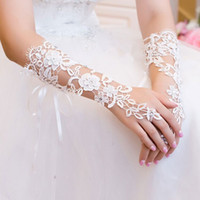 Wholesale Hot Sale Cheap In Stock Lace Beaded Crystals Fingerless Below Elbow Length With Ribbon Bridal Gloves Wedding Accessories