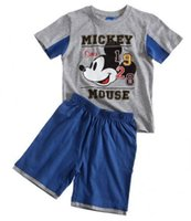baby grey suit - boy lace new summer boys wear grey T shirt Mickey blue shorts leisure suit Baby clothes