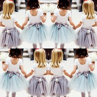 Wholesale Cute Baby Girls Tulle Skirts With Ribbon Sash Tutu Ball Gown Flower Girl Party Dresses For Wedding Cheap Children s Skirts