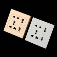 Wholesale Universal USB Wall Socket AC V US UK EU AU Wall Socket Port V USB Outlet Power Charger for Cellphone