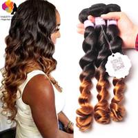 big prom hair - Brazilian Virgin Hair Two Tone Loose Wave Hair Extensions Ombre Brazilian Hair b Human Hair Bundles g A Cheap Hair Weft on Big Prom