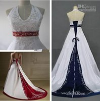 beaded halter neck wedding dresses - 2015 Hot Style White and Red Wedding Dresses Halter Neck Beaded Embriodery Satin A Line Bridal Gowns Lace up Back Custom Made W808