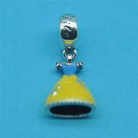 diy - Silver Enamel Dress Pendant Charm Loose Bead Fits European Diy Charm Bracelets CE507