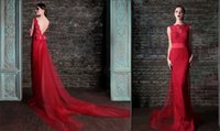 Wholesale Red Stunning Lace Low Back Pageant Dresses Evening wear Red carpet big Bow Sash Tulle Sheath Occasion Dress Formal Gowns High Grade WWL
