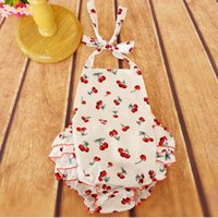 Wholesale 2016 New Arrival Retail Baby Clothes Cherry Baby Bubble Romper Halter Back and Ruffle Bottom Girls romper Jumpsuit for T