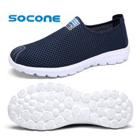 Cheap Wholesale-Socone Comfort Mens Womens Walking Shoes Fashion Sport Sneaker 2016 Slip On Summer Mesh Shoes Ladies Outdoor Water Shoes for Men