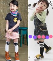 baby strips - Baby girl socks kids Stockings classic knee boots high socks Strip Cotton candy color princess socks Children sports sock