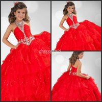 glitz pageant dress - 2016 Glitz Red Girls Pageant Dresses Halter Ball Gown Crystals Beaded Organza Princess Red Flower Girl Dresses RG6345