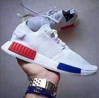 Wholesale Top quality NMD Runner Primeknit S79168 S31523 Black Red Blue Mens Sports Running Shoes woman nmd shoes with box size