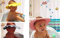 Wholesale 2015 new Adjustable Shower cap protect Shampoo for baby health bathing bath waterproof caps hat child kid children Wash Hair Shield Hat