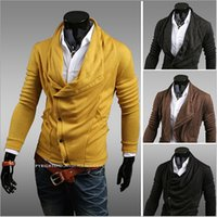 Wholesale 2014 Autumn New Arrival Men Sweaters Irregular Turn down Collar Slim Fit Knitted Cardigans Colors Size US XS S M L