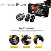 Wholesale Steelmate DIY Auto Car Tire Pressure Gauge Monitoring for Smartphone Cigarette Lighter Wireless External Sensors for iOS Andriod