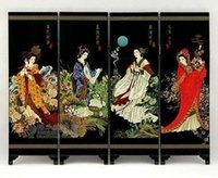 Wholesale Chinese Lacquer Painting Beautiful Folding Screen China s four beauties