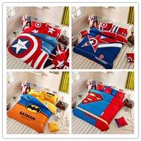 king size bed set - 2015 New Captain American Bedding Set Kids Bed Set Twin Queen King Size Pieces Duvet Cover Set Flat Sheet Pillow Shams Superman Batman