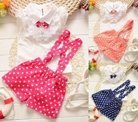 Cheap Babies Clothes 2015 Girl Summer Sets Bow Tie White Shirts Polka Dot Suspenders Shorts 2 Piece Set 1-3Y F0101