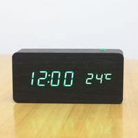 alarm clock bell sound - Sound the alarm clock creative explosion models dual LED mute temperature electronic medium rectangular wooden bell NZ
