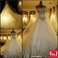 Wholesale TW180 Real Photo Sexy Luxury Crystals Romantic Fashionable Plus Size Wedding Dress Bridal Dress Gowns Vestido De Noiva Custom Made