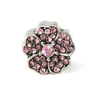 Wholesale pandora charms for jewelry making silver flower bead full cyrstal silver plated charm silver flower beads mm