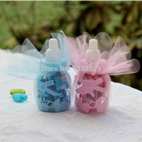 baptism christening gifts - cm Pink Blue Baby Shower Candy Bottle Baptism Christening Birthday Gift Favors Candy Box Bottle