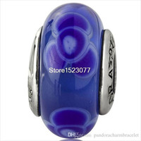 Wholesale 925 Sterling Silver Blue Murano Handcrafted Fashion European Charm Bead For Women Jewelry Snake Bracelet charm Bangle