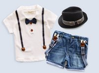 Cheap 2015 New Summer Boy Clothing Set Short Sleeve With Bow Tie Shirt And Suspender Jeans Children Clothing Sets Baby Clothes Hot Sale