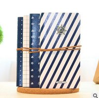 journal and notebook - Sailing style Vintage PU cover notepad diary notebook Cute journal gift blue white with pendant and rope