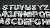 Wholesale High quality mm A Z Full Rhinestone Slide letters Charm DIY Accessories fit pet collarpnm1