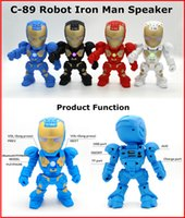 audio christmas cards - New C Robot Iron Man Bluetooth Wireless Speaker Support TF Card USB FM Radio Protable LED Subwoofers Stereo Speakers For Christmas gift