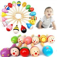 Wholesale Kids Children Toy Wooden Maraca Wood Rattles Kid Musical Party Sand Hammer Toys Cartoon Baby Percussion Musical Instrument Toy Free DHL