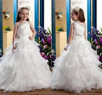 Cheap Pageant Dresses For Girls One Shoulder Beads Flower Girl Dresses Gowns Children Organza Girls Princess Dresses For Wedding Teens toddlers