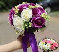 artificial limes - KR Purple Wedding Bouquets Lime Green Nosegay Bouquet Eighteen Flowers Wedding Floral Bridal Artificial Bridesmaid Bouquets With Ribbon