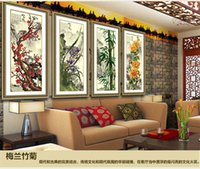 cross stitch fabric - New living room series Plum Orchid bamboo and chrysanthemum four painting Diamond pictures DIY Diamond Cross stitch