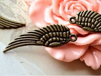 Wholesale 30mm x mm Medium Size Antique Bronze Angel Wing Charms
