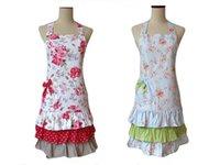Wholesale Fashion Vintage Retro Women Kitchen Apron Floral Rose Cotton Layers Ruffled Bandana Branded Salon Apron Cooking