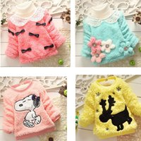 cotton velvet - clothing for baby boys girls knitted sweater Cartoon Children plus thick velvet sweaters spring Winter Newborn Toddler wear Pullover