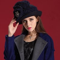 Wholesale Elegant Classic Fashion Hats Woman Hat Wool Felt Hats Natural Wool the Navy Flower Adornment Brim Fashion