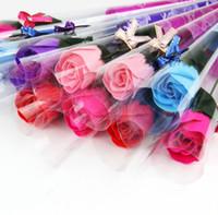 Wholesale 32pcs Flower Soaps Bath Body Rose Petal Wedding Favors Birthday Gifts Home Decoration Colors Flower Soap Rose