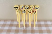 Wholesale PrettyBaby Newest Emoji Pen Lovers Gifts Plush Cotton Small Emoji Pillow creative ballpoint pen QQ face pen in stock