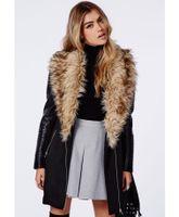 Wholesale 100 praise Luxury faux fur big lapel Warm Winter women PU leather sleeve long trench patchwork black coat wool coats plus size