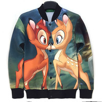 bambi cartoon - Raisevern Autumn windbreak D bambi deer print jacket cute animal element jogging coat cartoon outdoor outwear for women men