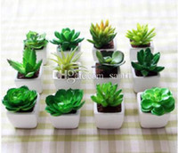 artificial cactus - Fashion Hot Decorative flower pots planters artificial plants with vase bonsai tropical cactus fake succulent plant potted on the desk