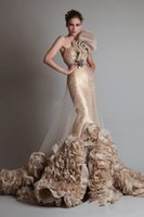 Reference Images big flower pictures - Top Unique Luxurious Sexy Gold Sleeveless One Shoulder Mermaid Trumpet Wedding Bridal Prom Dresses With Big Ruffles Flower