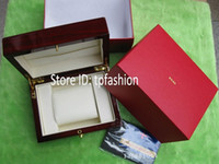 13010 Wood Red New Hot Luxury Original Watch Box Book Card Top Brand Gift Jewelry Bracelet Bangle Display Wood PU Leather Red Storage Case Pillow 3010