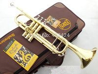Wholesale American Bach TR Gold Lacquer B flat Bb professional trumpet Top musical instruments in Brass trompete trumpeter bugle