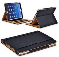 Cheap Cheap iPad6 Tan Leather Wallet Stand Flip Case Bag Smart Cover for iPad Air 5 Air 2 Mini Mini2 Mini3 Retina With Auto Sleep Wake UP Funtion