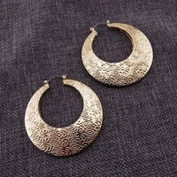 Wholesale Exaggerated Big Round Exquisite Fashion Metal Carving Earrings For Women Charm Trendy Bohem Jewelry Gifts